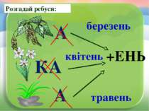 Розгадай ребуси: березень +ЕНЬ квітень травень А КА А