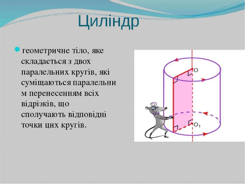Циліндр геометричне тіло, яке складається з двох паралельнихкругів, які сумі...