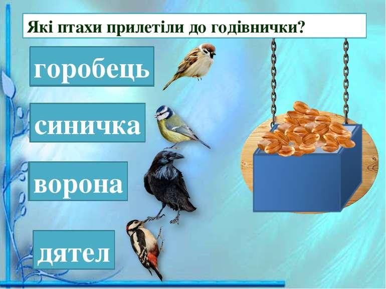 Які птахи прилетіли до годівнички? рогобець горобець ничкаси синичка вонаро в...