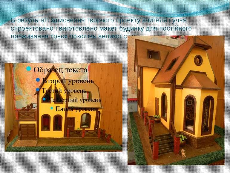 В результаті здійснення творчого проекту вчителя і учня спроектовано і вигото...