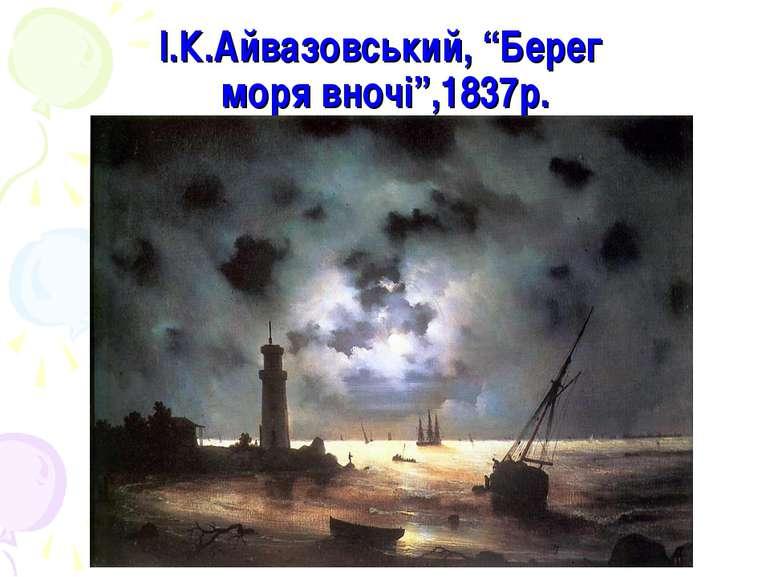 """І.К.Айвазовський, """"Берег моря вночі"""",1837р."""
