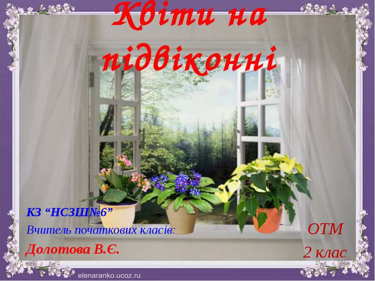 """Квіти на підвіконні ОТМ 2 клас КЗ """"НСЗШ№6"""" Вчитель початкових класів: Долотов..."""
