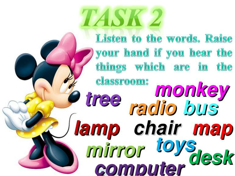 map tree desk monkey chair computer mirror bus toys lamp radio