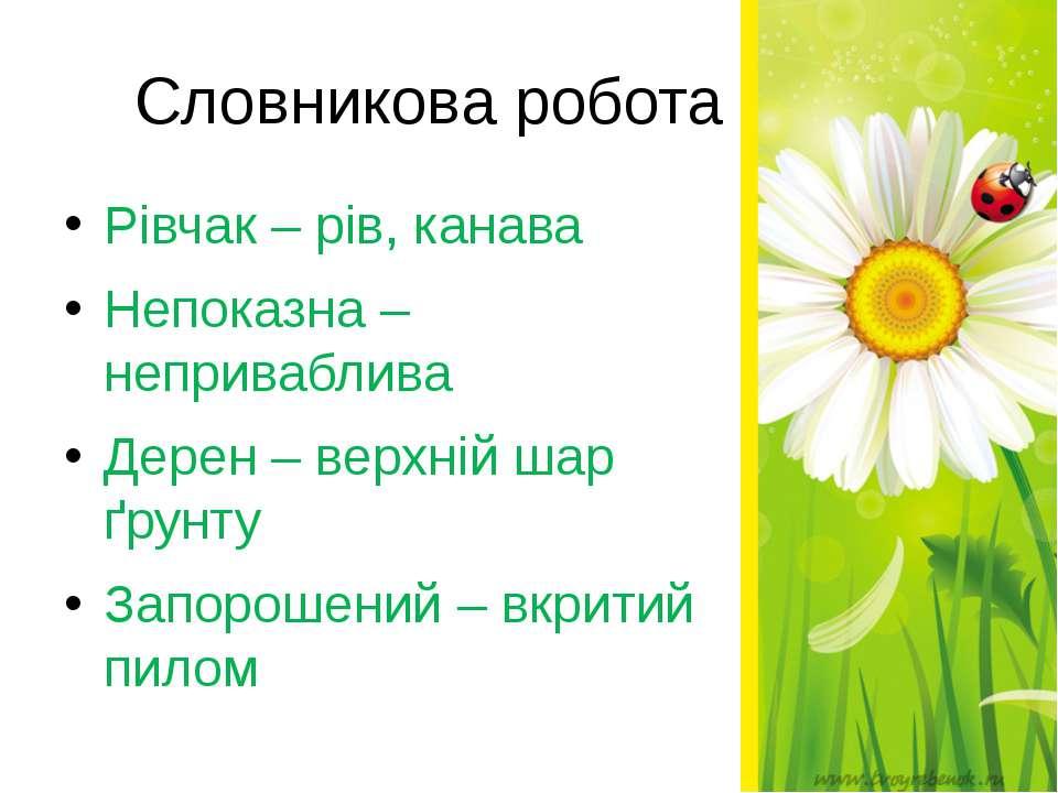 Словникова робота Рівчак – рів, канава Непоказна – неприваблива Дерен – верхн...