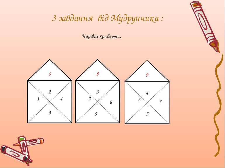 3 завдання від Мудрунчика : Чарівні конверти. 6 5 7 5