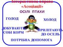 ГОЛОД ОСІЛІ ПТАХИ Інтерактивна вправа «Асоціації» ХОЛОД ДОБУВАЮТЬ СОБІ КОРМ П...