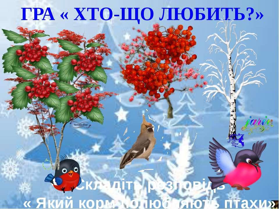 ГРА « ХТО-ЩО ЛЮБИТЬ?» Складіть розповідь « Який корм полюбляють птахи»