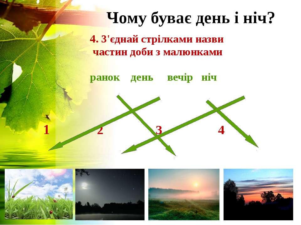 Чому буває день і ніч? 4. З'єднай стрілками назви частин доби з малюнками ран...