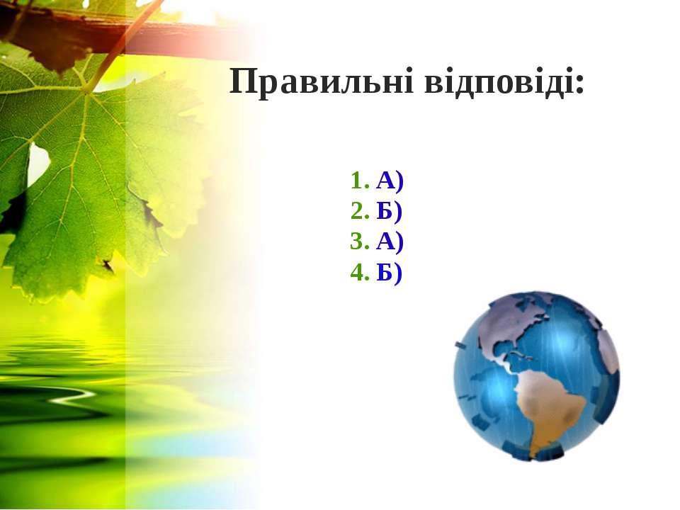 Правильні відповіді: 1. А) 2. Б) 3. А) 4. Б)