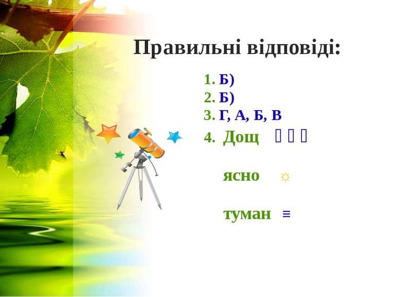 Правильні відповіді: 1. Б) 2. Б) 3. Г, А, Б, В 4. Дощ ꞉ ꞉ ꞉ ясно ☼ туман ≡