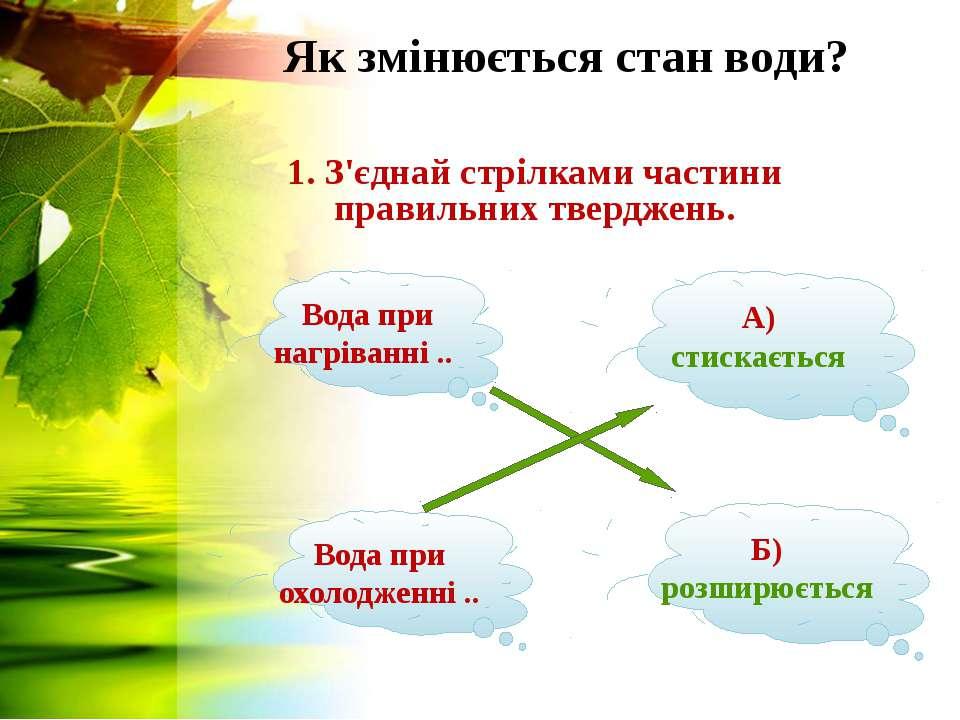 Як змінюється стан води? 1. З'єднай стрілками частини правильних тверджень. В...