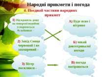 Народні прикмети і погода 4. Поєднай частини народних прикмет 3) Вітер посили...