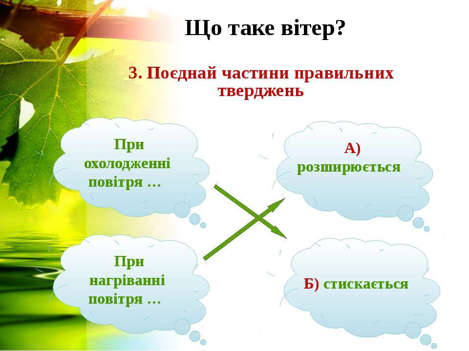 Що таке вітер? 3. Поєднай частини правильних тверджень При нагріванні повітря...