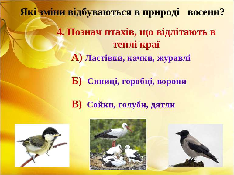 Які зміни відбуваються в природі восени? 4. Познач птахів, що відлітають в те...