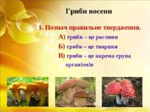 Гриби восени 1. Познач правильне твердження. А) гриби – це рослини Б) гриби –...