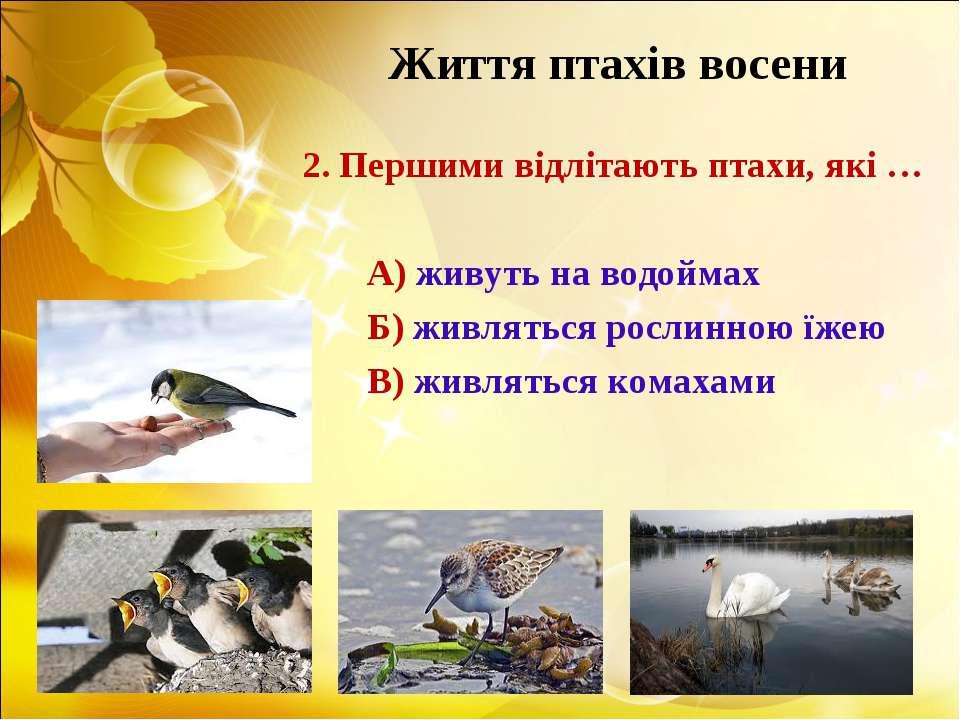 Життя птахів восени 2. Першими відлітають птахи, які … А) живуть на водоймах ...