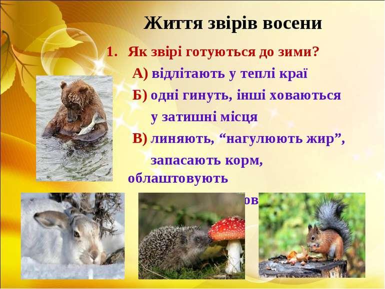 Життя звірів восени Як звірі готуються до зими? А) відлітають у теплі краї Б)...