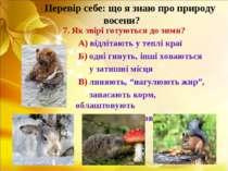 Перевір себе: що я знаю про природу восени? 7. Як звірі готуються до зими? А)...