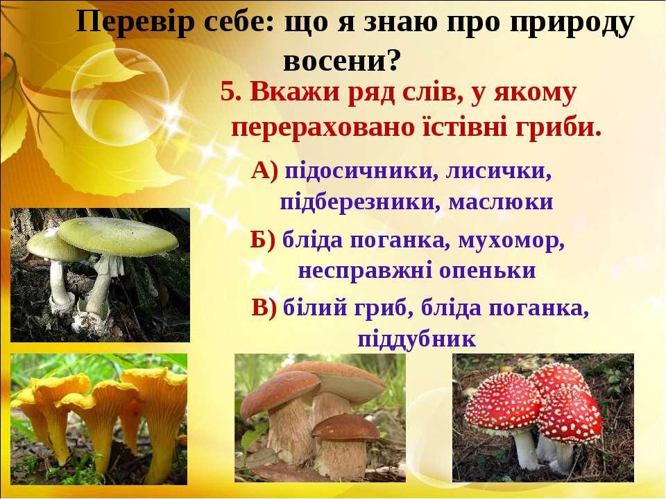 Перевір себе: що я знаю про природу восени? 5. Вкажи ряд слів, у якому перера...
