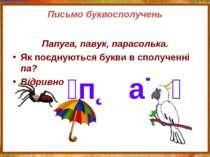 Письмо буквосполучень Папуга, павук, парасолька. Як поєднуються букви в сполу...