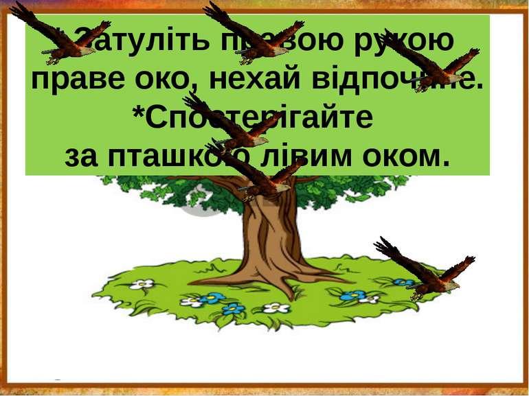 * Затуліть правою рукою праве око, нехай відпочине. *Спостерігайте за пташкою...