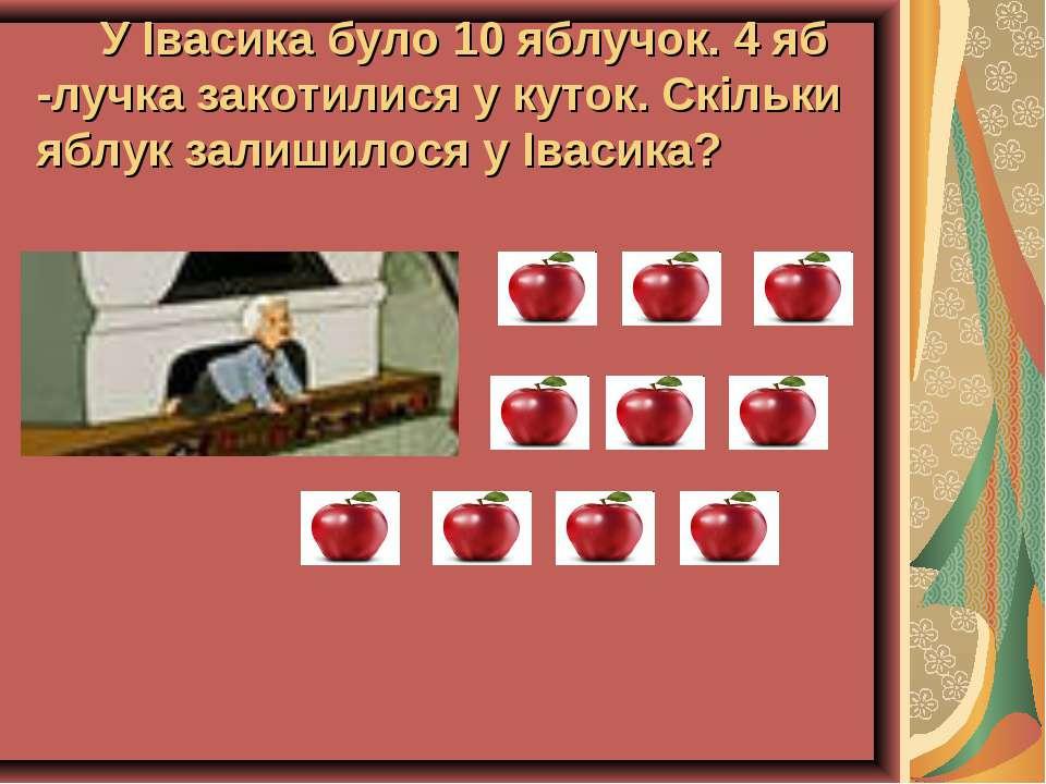 У Івасика було 10 яблучок. 4 яб -лучка закотилися у куток. Скільки яблук зали...