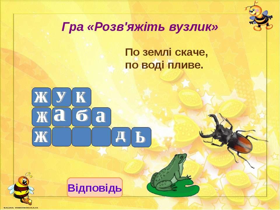 Гра «Розв'яжіть вузлик» По землі скаче, по воді пливе. Відповідь