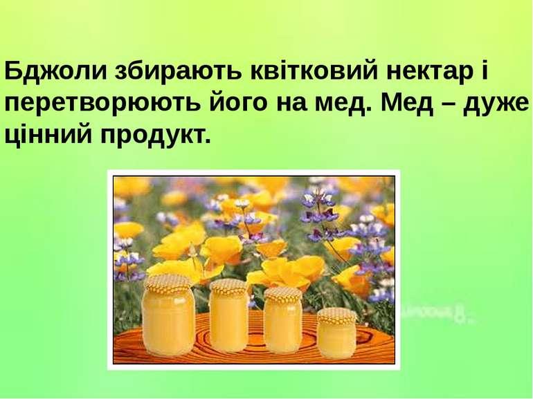 Бджоли збирають квітковий нектар і перетворюють його на мед. Мед – дуже цінни...