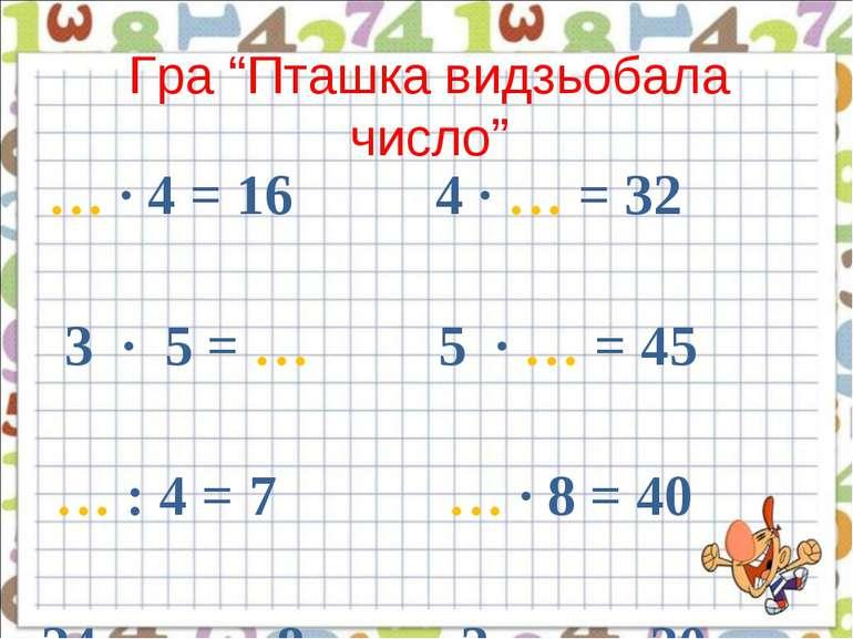 """Гра """"Пташка видзьобала число"""" … · 4 = 16 4 · … = 32 3 · 5 = … 5 · … = 45 … : ..."""