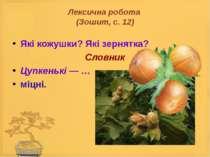 Лексична робота (Зошит, с. 12) Які кожушки? Які зернятка? Словник Цупкенькі —...