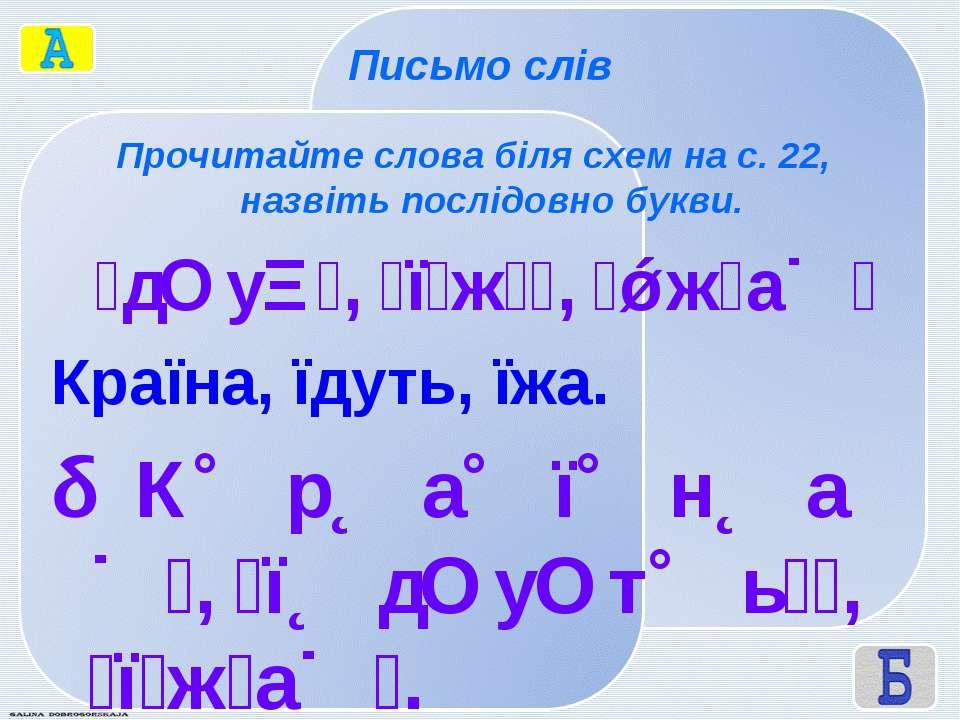 Письмо слів Прочитайте слова біля схем на с. 22, назвіть послідовно букви. д ...