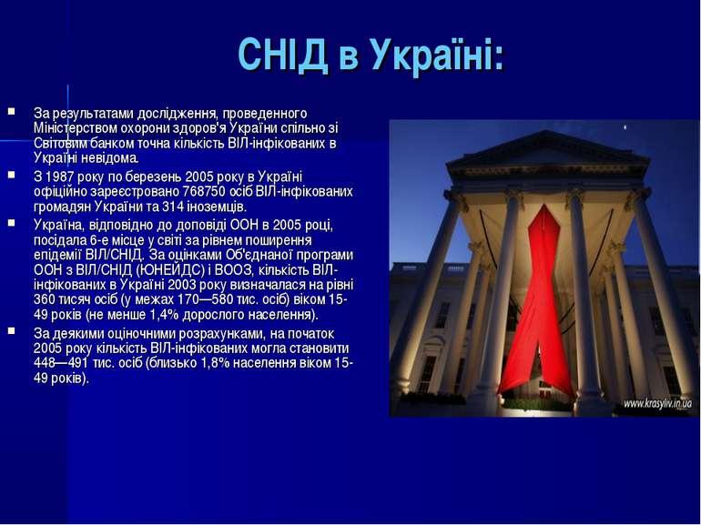 СНІД в Україні: За результатами дослідження, проведенного Міністерством охоро...