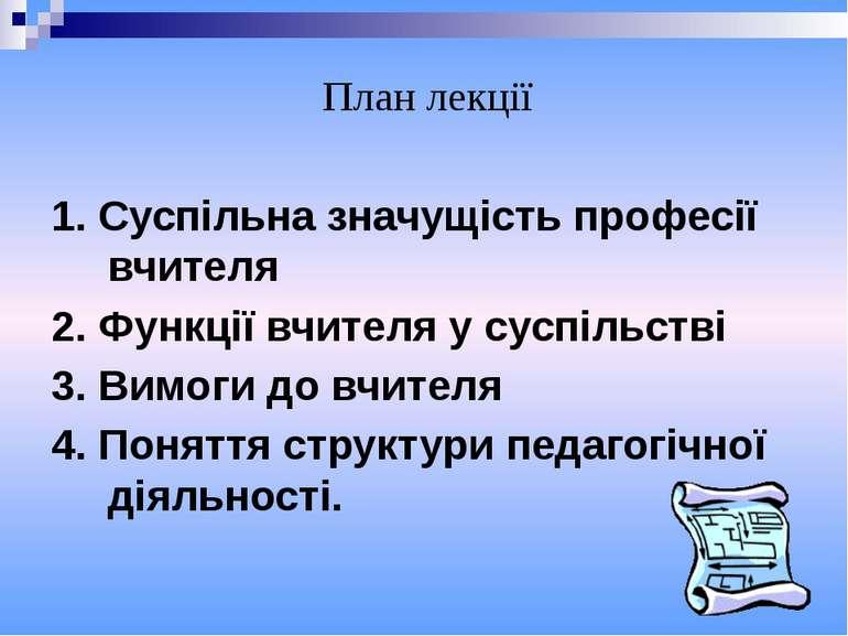 1. Суспільна значущість професії вчителя 2. Функції вчителя у суспільстві 3. ...