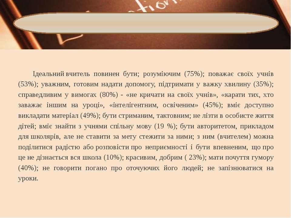 Ідеальнийвчитель повинен бути; розуміючим (75%); поважає своїх учнів (53%); ...
