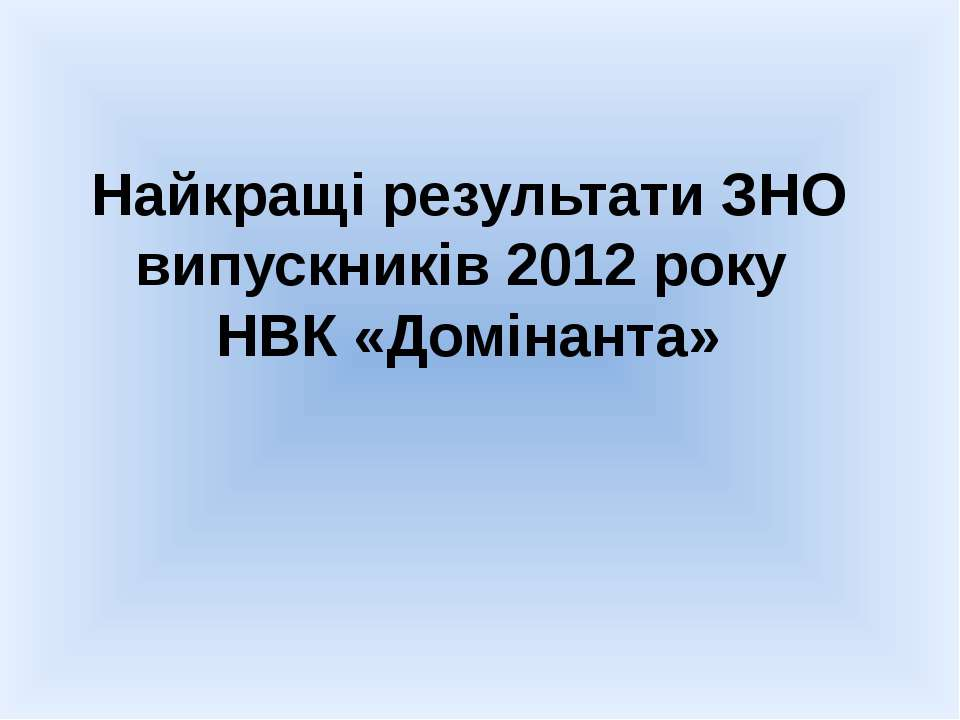 Найкращі результати ЗНО випускників 2012 року НВК «Домінанта»