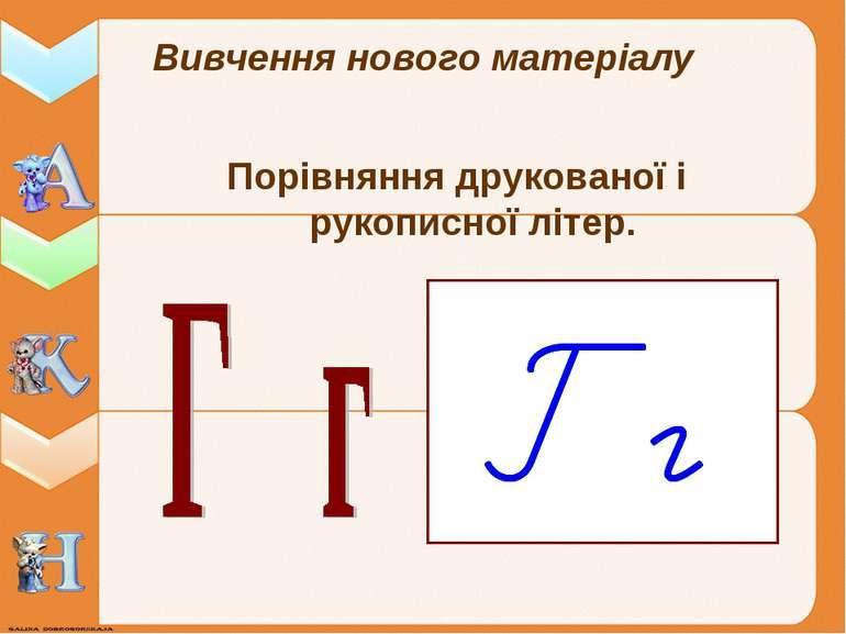 Вивчення нового матеріалу Порівняння друкованої і рукописної літер.