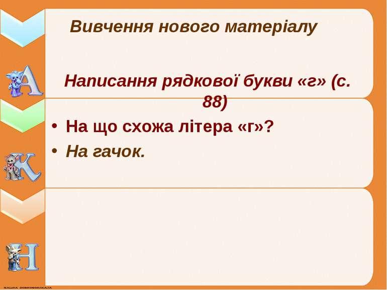 Вивчення нового матеріалу Написання рядкової букви «г» (с. 88) На що схожа лі...