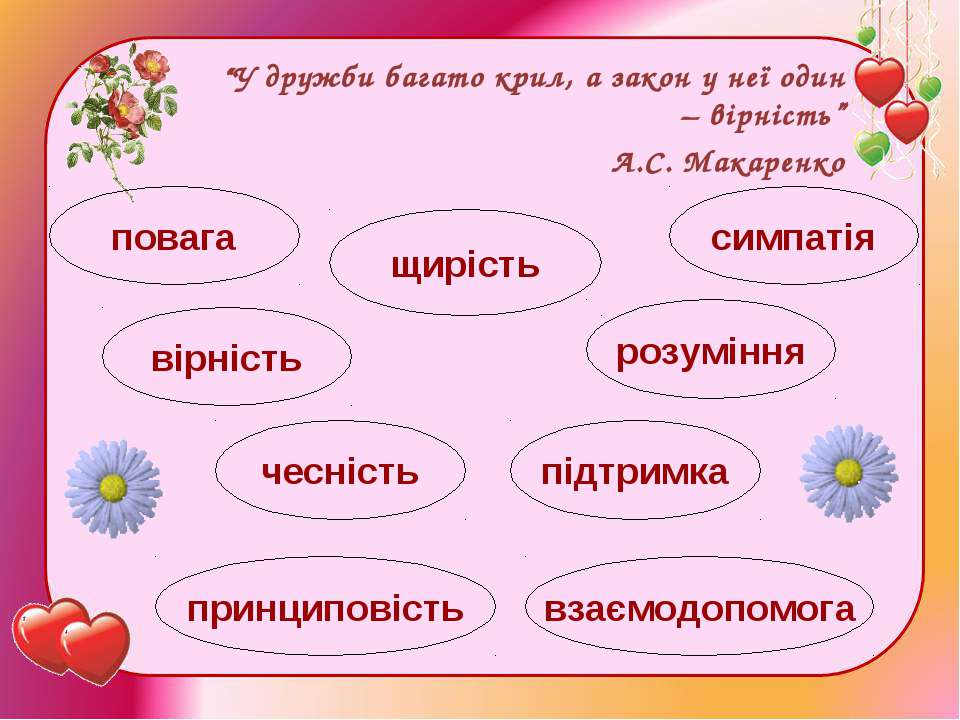 """""""У дружби багато крил, а закон у неї один – вірність"""" А.С. Макаренко взаємодо..."""
