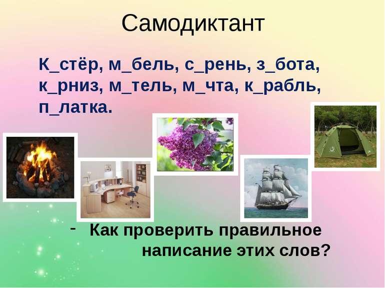 Самодиктант К_стёр, м_бель, с_рень, з_бота, к_рниз, м_тель, м_чта, к_рабль, п...