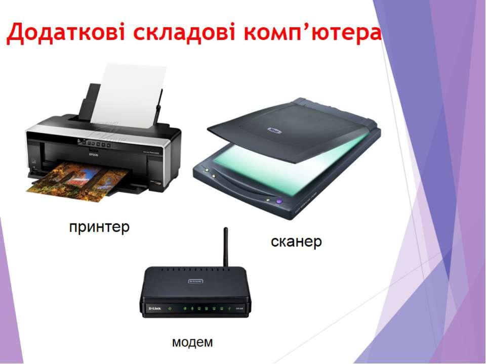Додаткові складові комп'ютера