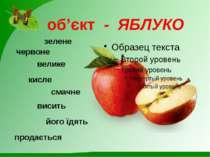 об'єкт - ЯБЛУКО червоне велике смачне висить його їдять продається зелене кисле