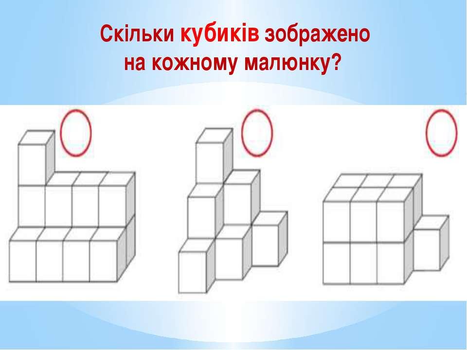 Скільки кубиків зображено на кожному малюнку?