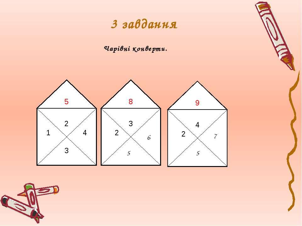 3 завдання Чарівні конверти. 6 5 7 5 2 4 3 5 3 2 8 4 2 9