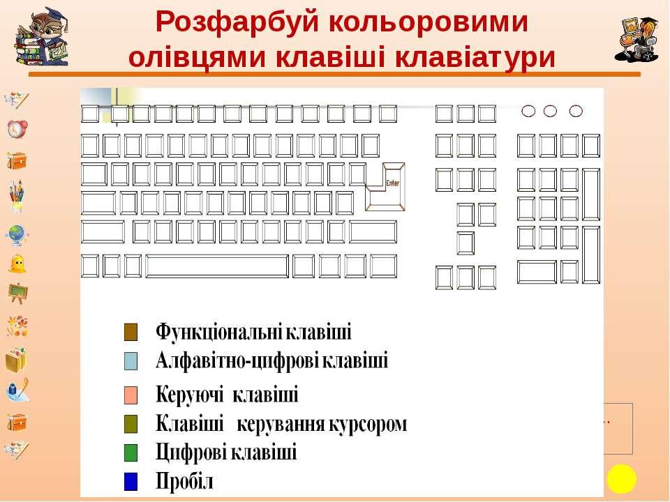 Розфарбуй кольоровими олівцями клавіші клавіатури