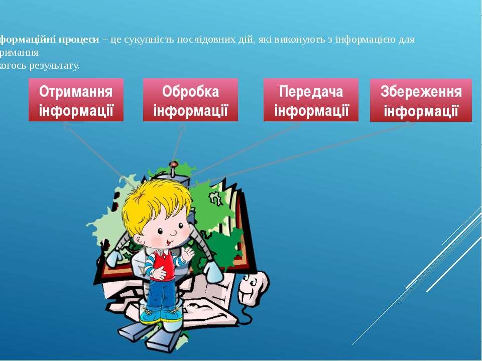 Інформаційні процеси – це сукупність послідовних дій, які виконують з інформа...