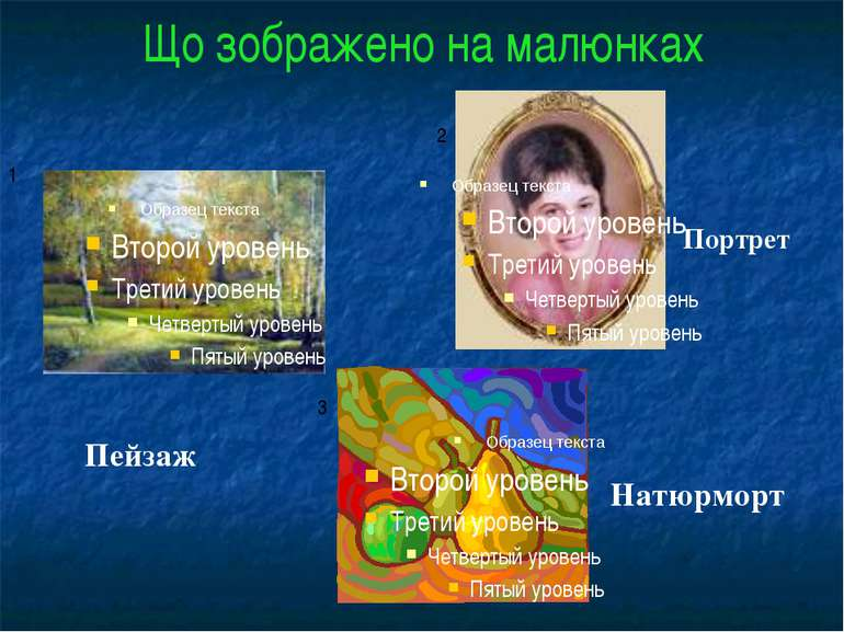 Що зображено на малюнках 1 2 3 Пейзаж Портрет Натюрморт