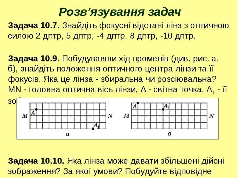 Розв'язування задач Задача 10.7. Знайдіть фокусні відстані лінз з оптичною си...