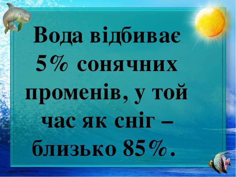 Вода відбиває 5% сонячних променів, у той час як сніг – близько 85%.