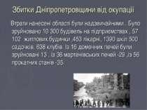 Збитки Дніпропетровщини від окупації Втрати нанесені області були надзвичайни...