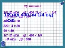Що більше? 1/8 від 400 чи 1/4 від 320 1/8 в і д 400 ч и 1/4 в і д 320 400 : 8...